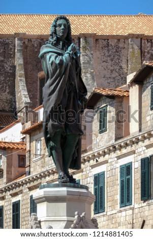 Statue of Dubrovnik poet Ivan Gundulic sculpted by Ivan Rendic in 1893. #1214881405