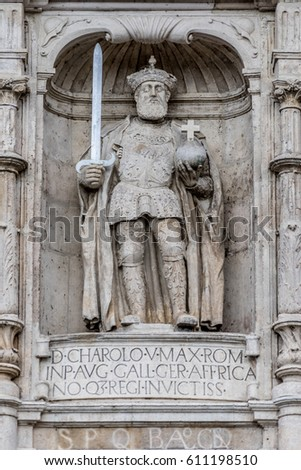 Statue of Emperor Charles V in the facade of the Gateway of Santa Maria (Arco de Santa Maria). Erected in the 14th-century for the first entrance of the Emperor #611198510