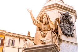 Statue of Ezekiel by Carlo Chelli. Part of the Column of the Immaculate Conception, Piazza Mignanelli, Rome, Italy