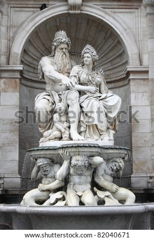 Statue of Franz Josef I in Albertina Museum Palace, Vienna (Austria)