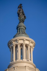 Statue of Freedom at the United States Capitol building in Washington D.C., the meeting place for Congress, and the seat of the legislative branch of the federal government.