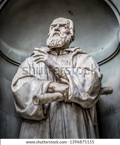 Statue of Galileo Galilei, on the facade of the Uffizi gallery. Florence, Tuscany, Italy #1396875155