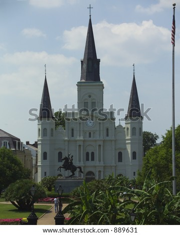 Statue of General Andrew Jackson in front of St Louis Cathedral in New Orleans