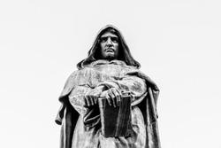 Statue of Giordano Bruno on Campo de Fiori, Rome, Italy. Black and white image.