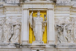 Statue of Goddess Roma at Victor Emmanuel II Monument (Altar of the Fatherland), built in honor of the first king of Italy, in Rome, Italy
