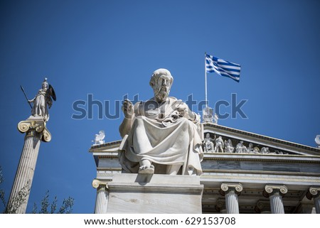 Shutterstock Statue of Greek philoshopher Plato (middle) outside the Academy of Athens main building, in central Athens. Plato was a philosopher in Classical Greece and the founder of the Academy of Athens.