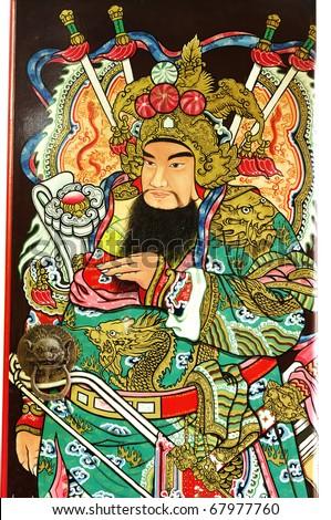 Statue Of Guan Yu deva [God of honor] paint fine art on door  temple