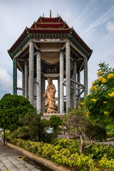 Statue of Guanyin standing on a hilltop at Air Itam, near Penang Hill, Kek Lok Si (English