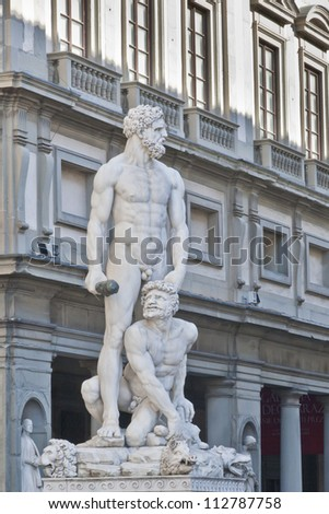 Statue of Hecules and Cacus in Palazzo Vecchio, Florence, Italy