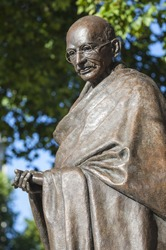Statue of historic leader Mahatma Gandhi in Parliament Square, London.