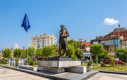 Statue of Ibrahim Rugova in Pristina - Kosovo