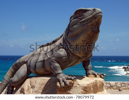 Statue of iguana in Isla Mujeres Mexico