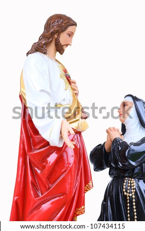 Statue of Jesus Christ and mary. Sacred Heart. Christianity symbol isolated on white background