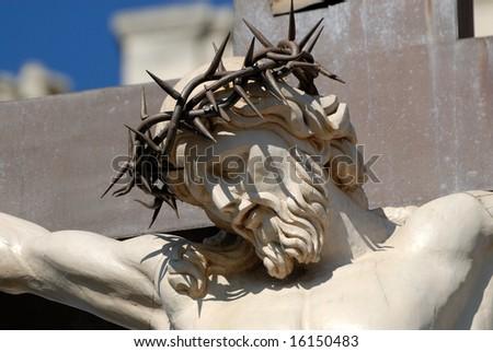 Statue of Jesus Christ at cross in Avignon, France - stock photo