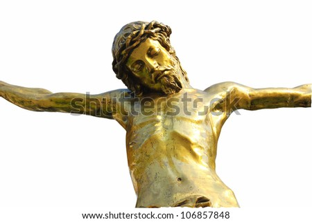 Statue of Jesus Christ isolated on white. Sacred Heart. Christianity symbol
