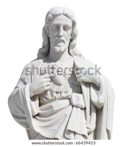 Statue of Jesus Christ isolated on white with clipping path