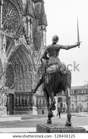 Statue of Joan of Arc on the horse in front of  the Cathedral of Notre-Dame, Reims, France