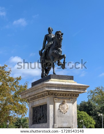 Statue of Joan Prim - Low-angle close-up view of bronze equestrian statue of General Joan Prim i Prats standing on stone pedestal at main entrance of Parc De La Ciutadella. Barcelona, Catalonia, Spain Stock foto ©