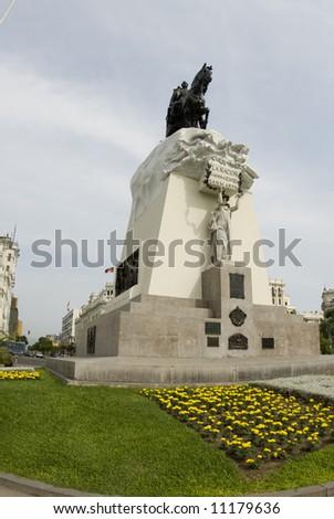 statue of jose of san martin on plaza san martin lima peru south america