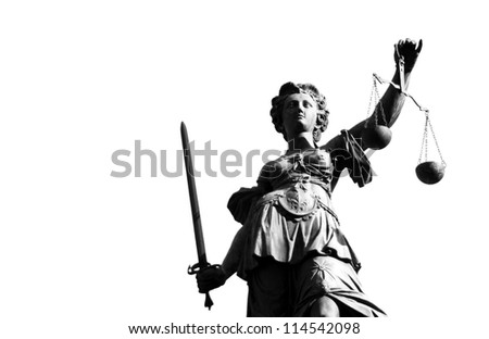 Statue of justice with sword and scale in black and white