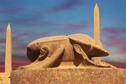 Statue of Khepri the sacred scarab in Karnak Temple Complex Luxor, Egypt