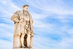 Statue of King John III in the university main square in Coimbra, Portugal