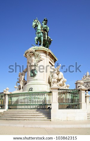 Statue of king Jose on the Commerce square in Lisbon. Portugal