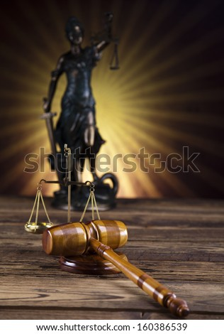 Statue of lady justice, Law concept and sunset