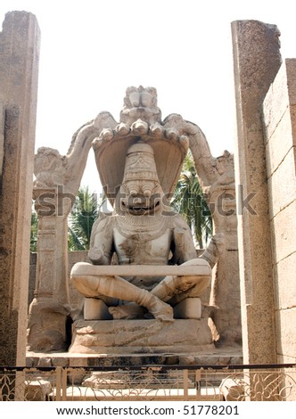 statue of Lakshmi Narasimha, the fourth incarnation of Lord Vishnu, Hampi, Karnataka state, India