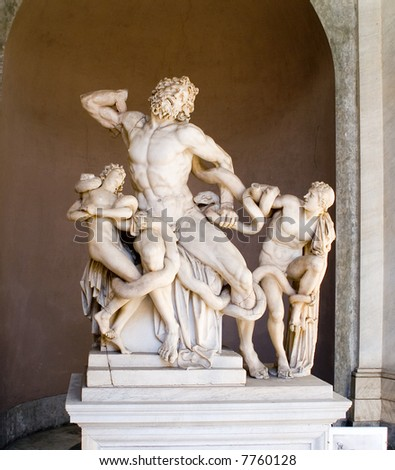 Statue of Laocoon and his Sons, also called the Laocoon Group, is a monumental marble sculpture, Vatican Museums, Rome