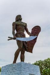 Statue of Lapu Lapu National Hero who killed Ferdinand Magellan in the battle of Mactan Island Philippines Monument build at the Mactan Shrine Mactan Island