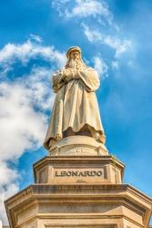 Statue of Leonardo da Vinci in Piazza della Scala, Milan, Italy