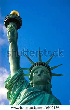 Statue of Liberty against Blue Sky, Liberty Island, New York, United States of America
