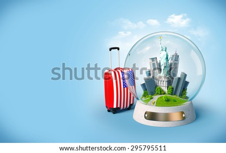 Statue of Liberty and buildings in the glass ball. Unusual travel illustration. USA