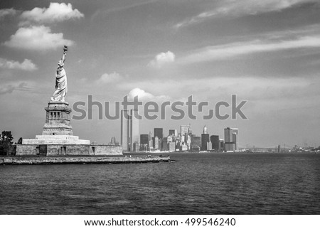 statue of liberty and twin...