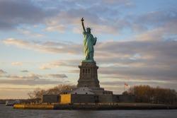Statue of liberty at sundown