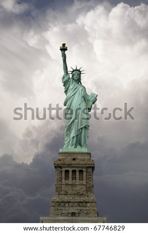 Statue of Liberty, front view. This is a great monument of New York City