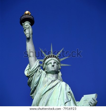 Statue of Liberty in New York USA against clear blue sky