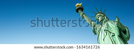 Statue of Liberty in New York, USA. Blue sky panoramic background with copy space Foto stock ©