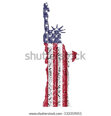 Statue of Liberty in typographic style and flags