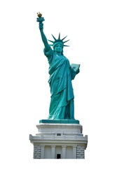 Statue of Liberty (Liberty Enlightening the World ) isolated on white background.