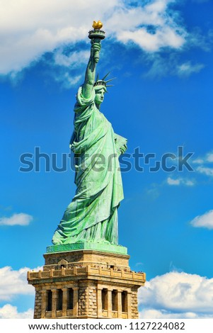 Statue of Liberty (Liberty Enlightening the world) near New York and Manhattan. USA.