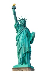 Statue of Liberty National Monument isolated on white background. Clipping path.