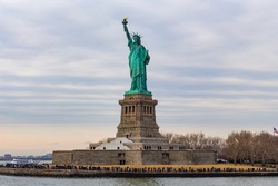 Statue of Liberty National Monument on Liberty island in New York Harbour, New York.