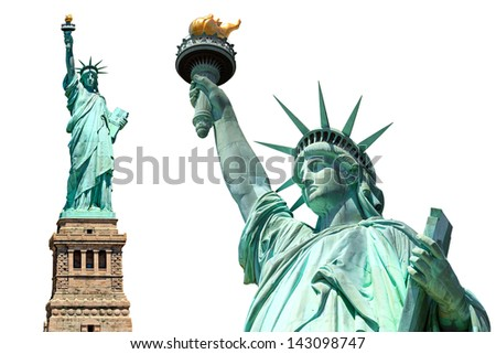 statue of liberty, new york city, usa, isolated, twice