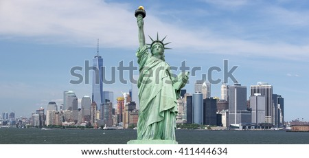 Statue of Liberty. New York, panorama of Manhattan with the One World Trade Center (Freedom Tower) and Hudson River, USA