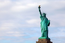 Statue of Liberty , New York , Usa. Cloudy winter day