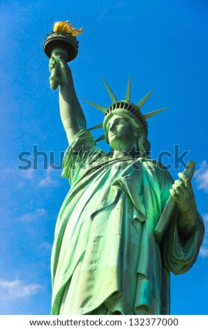 Statue of Liberty on blue sky, New York City, USA - stock photo