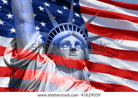 Statue of Liberty on Island in New York with flag of the United States of America - abstract