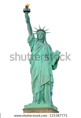 Statue of Liberty on isolated on white background.